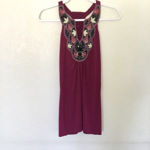 Embroidered Maroon Jewel Tank Top 6 Degrees